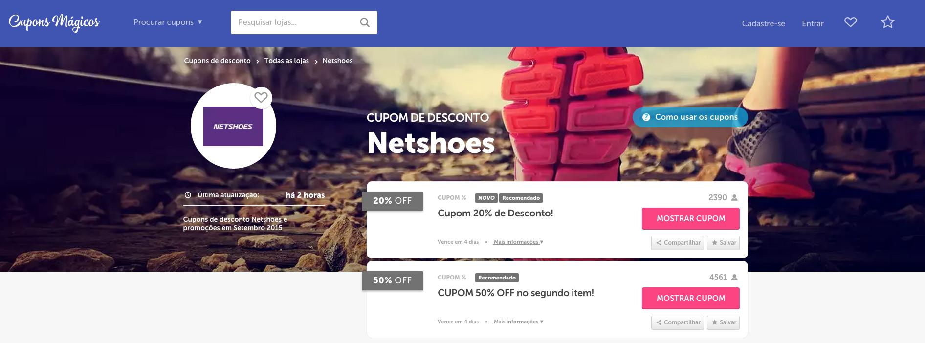 Cupons de descontos Netshoes