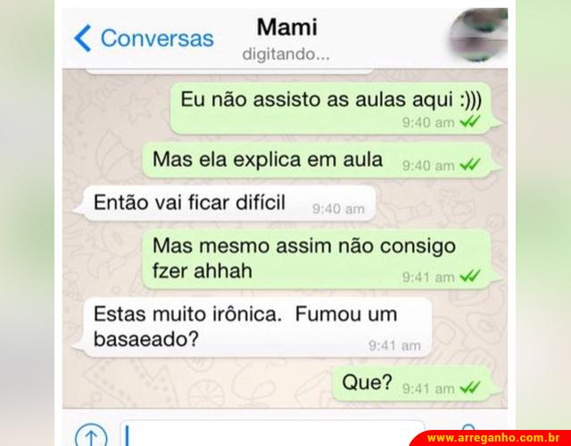 Conversando com a mãe no whatsapp