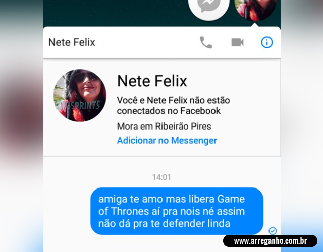 Eu falando com a Nete Felix